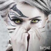 Vampfangs Angelic Yellow Contacts - Halloween Contact Lenses - Corrective Options - Premium Comfort
