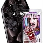 Handmade Coffin Box Complete With Black Roses and Our Bestselling Small Deluxe Vampire Fangs