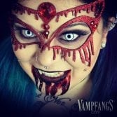 Vampfangs Vampire Look - Xotic Eyes 3D Mask - Manson FX Halloween Contact Lenses - Vampfangs Subtle Vampire Fangs - Realistic Drying Blood by Tinsley