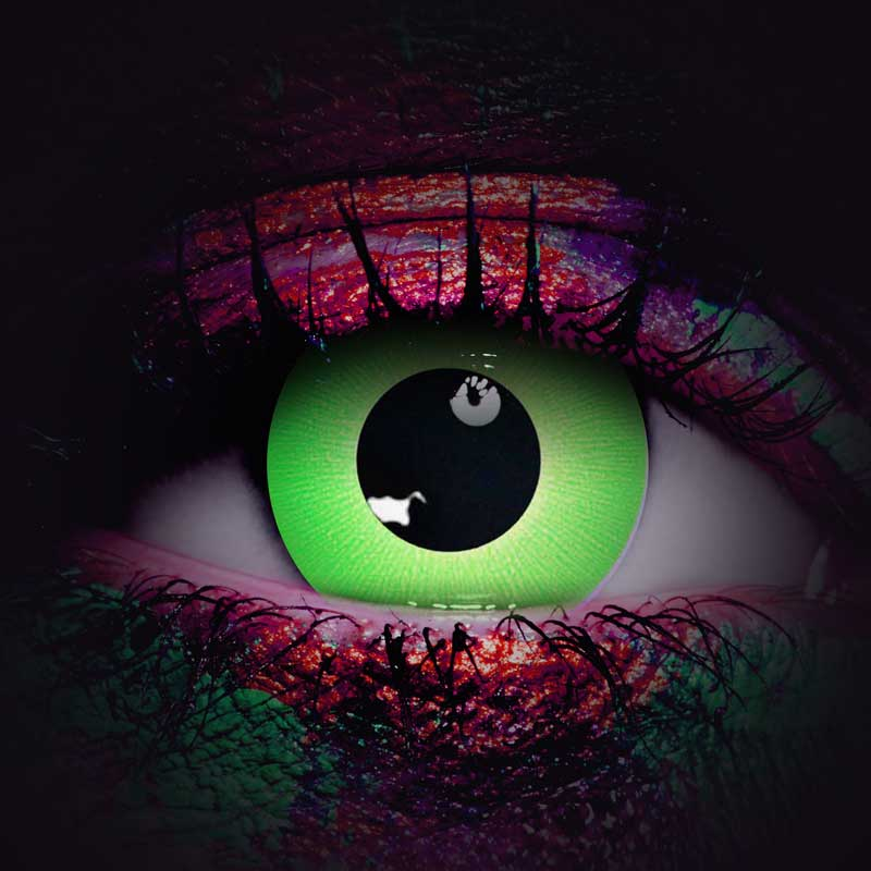 Green Rave Contacts Lenses - UV Glow in the Dark Contacts - UV Reactive Contacts - Blacklight Contacts - Vampfangs