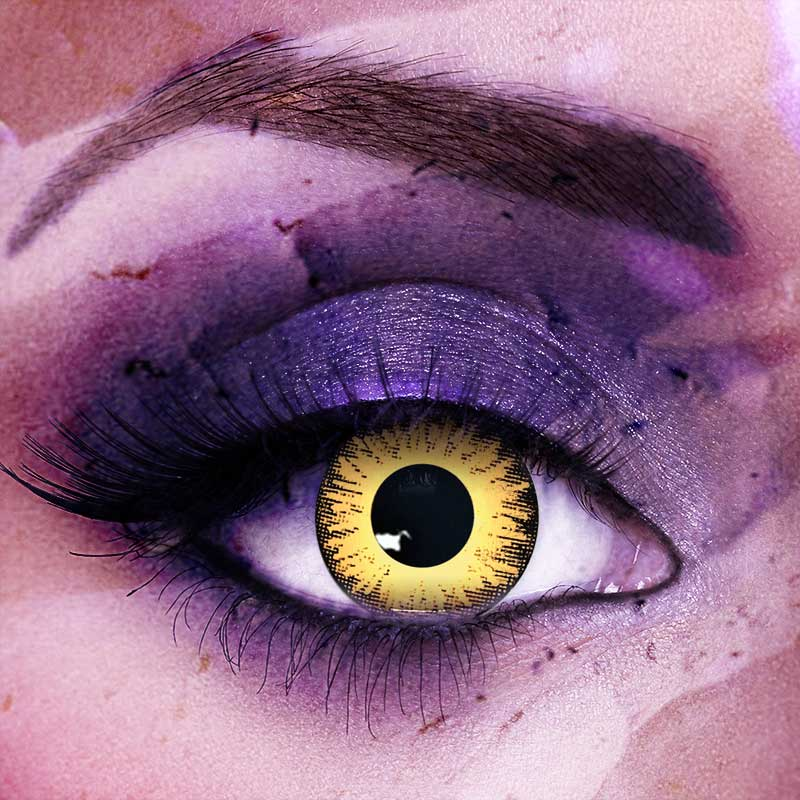 Vampfangs: Custom Toric Yellow Zombie Undead Contact Lenses - Corrective +/-20